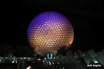 Epcot at night, Spaceship earth at night. Epcot night photos, Epcot ball night, World showcase at night,