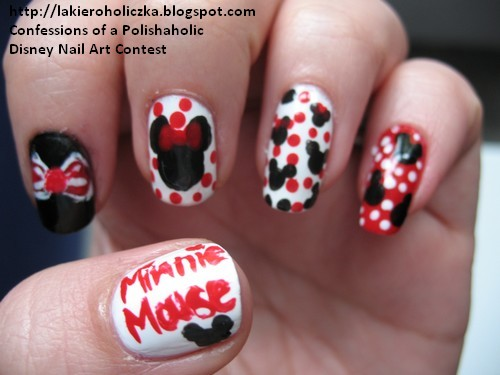 Minnie Mouse nail art, Minnie Mouse manicure, Disney inspired nail art