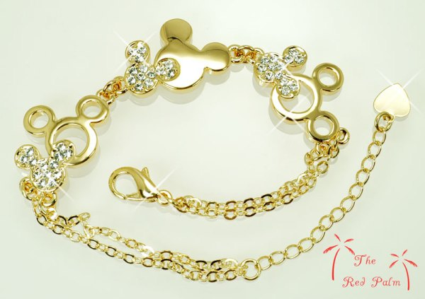 Gold Mickey Mouse bracelet, MickeyMouse jewelry, Disney jewelry