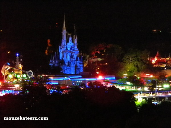 Cinderella Castle at night, Tomorrowland at night, Walt Disney World