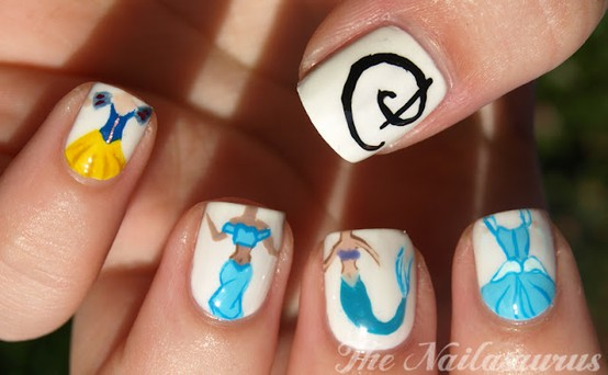 Princess fingernails, Disney princess nails, Disney princess manicure