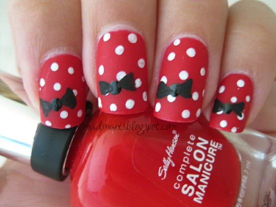 Minnie Mouse manicure, Minnie Mouse nail art, Minnie Mouse nails, Minnie Mouse fingernails