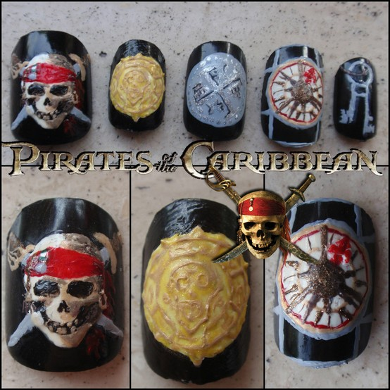 Pirates of the Caribbean movie, Pirates of the Caribbean fingernail, pirate manicure