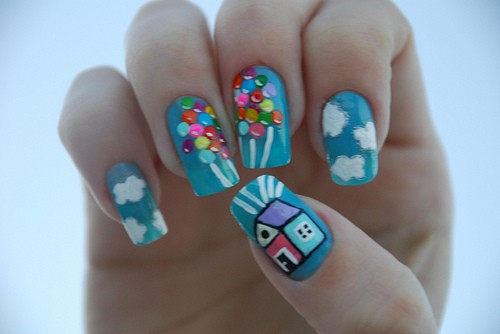 Up Movie, Up Pixar, Up inspired fingernails, Up manicure
