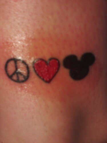Peace Love Disney, Mickey tattoo, Love tattoo