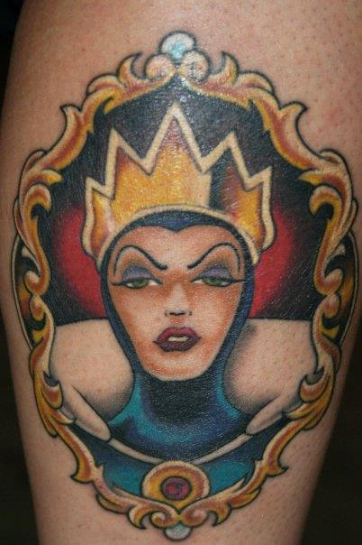 Disney Wicked Queen, Wicked Queet tattoo, Disney ink, Disney tat, Disney colors, Snow White tattoo