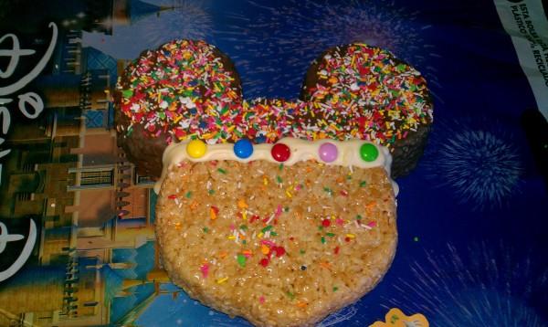Disney food, Mickey Rice Krispie Treat, Disney World food kids like, kid food,