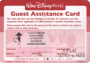 Disney Guest Assistance Card, how to get a Disney Guest Assistance Card, what is a Disney Guest Assistance card
