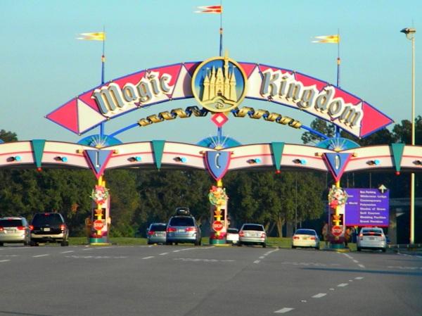 drive to Mgic Kingdom, road to Magic Kingdom, Magic Kingdom entrance sign, Magic Kingdom toll, Magic Kingdom parking cost